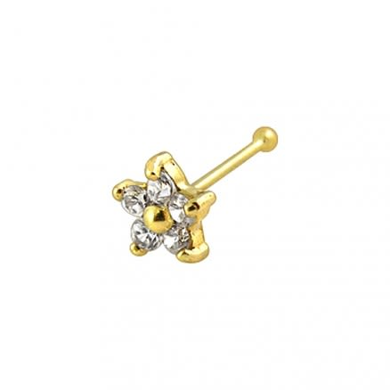 9K Gold Jeweled Nose Pin
