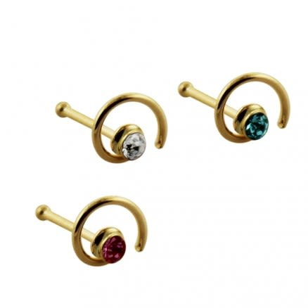9K Gold Ball End Jeweled Coil Nose stud