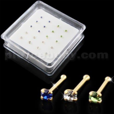 Clear,Sapphire and Green Color 14K Gold Ball End Nose Pins in Mini Box
