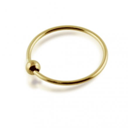 9K Yellow Gold BCR Hoop Nose Ring