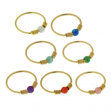 9K Yellow Gold Spring Coil end with Opal Stone Hoop Nose Ring