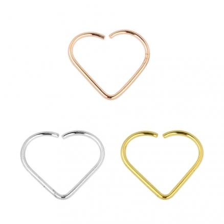 9K Gold Heart Cartilage Daith piercing Ring