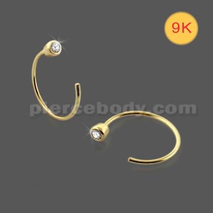 9K Gold Bezel set Jeweled Open Hoop Nose Ring