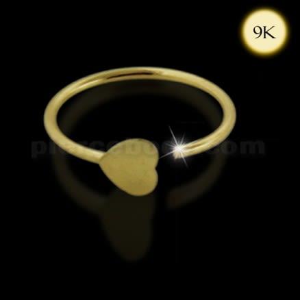 9K Gold 3mm Heart Open Hoop Nose Ring