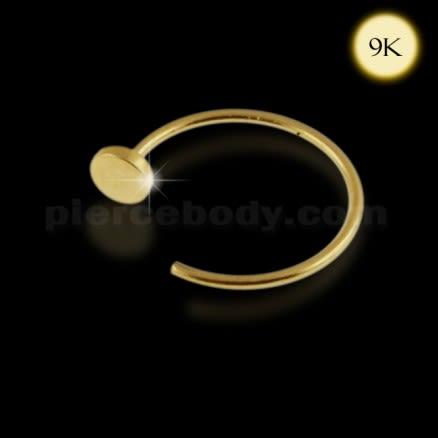 9K Gold Flat End Open Hoop Nose Ring