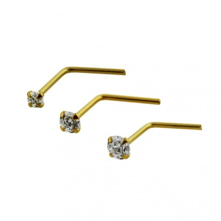 9K Solid Yellow Gold L-Shaped Jeweled Nose Stud in Box