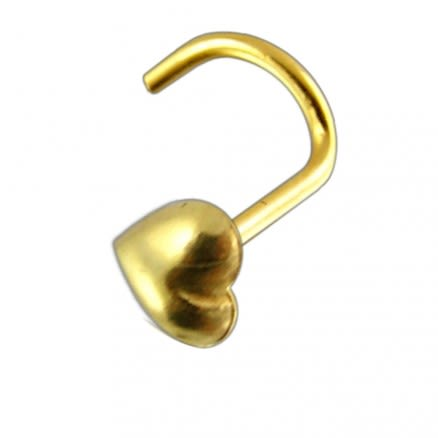 9K Gold Heart Nose Screw