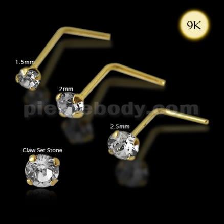 9K Gold L-Shaped Genuine Crystal Nose Stud