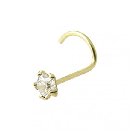 9K Solid Yellow Gold 3mm Star CZ Nose Screw