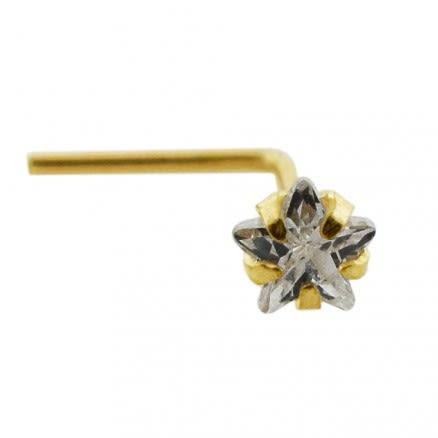 9K Gold L-Shaped Star CZ Nose Stud