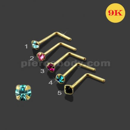 9K Gold L-Shaped Crystal Nose Stud
