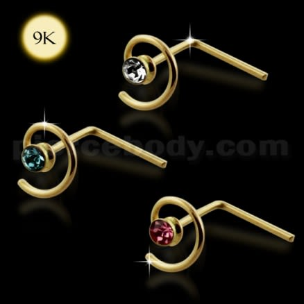 9K Gold L-Shaped Jeweled Coil Nose Stud