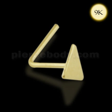 9K Gold L-Shaped Flat Triangle Nose Stud