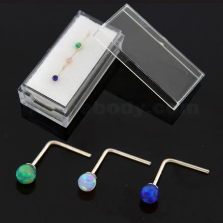 3 Pieces 9K yellow Gold L-Shape Opal Stone Nose Stud in Box