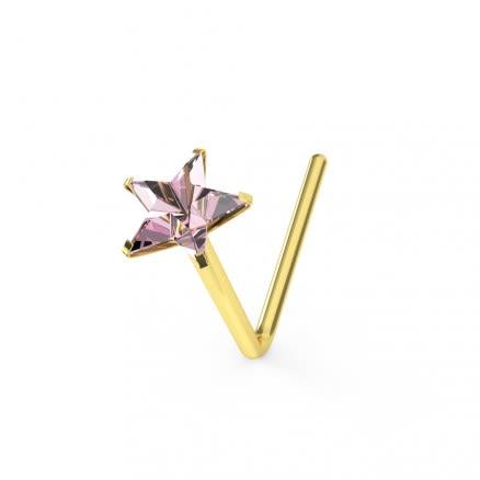 9K Soild Yellow Gold Pink Star CZ L-Shape Nose Stud