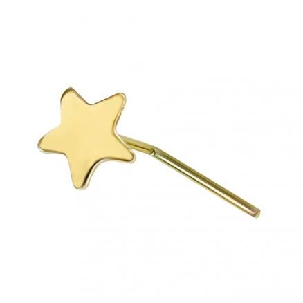 9K Soild Yellow Plain Star L-Shape Nose Stud