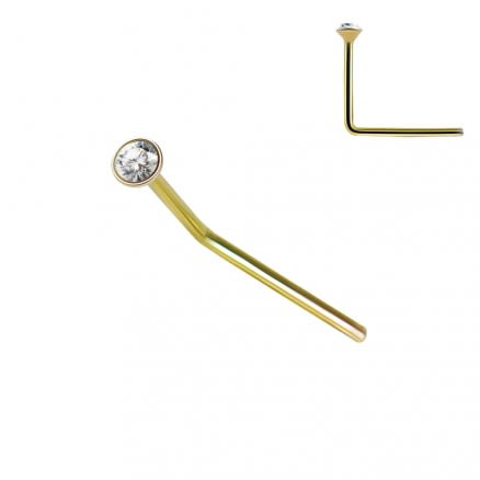9K Solid Yellow Gold 22G Round CZ Jeweled L-Shape Nose Stud