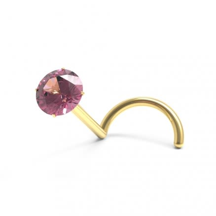 9K Gold Nose Screw with Natural AMETHYST Stone