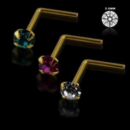 Clear,Fushia and Blue Zircon 14K Gold L-Shape Nose Pins in Mini Box