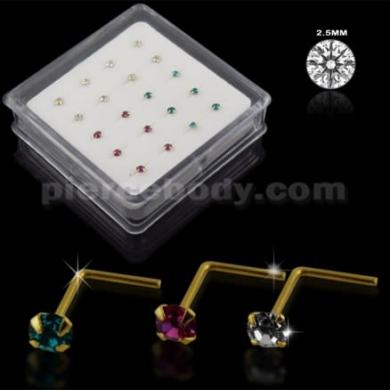 Clear,Fushia and Blue Zircon 9K Gold L-Shape Nose Pins in Mini Box