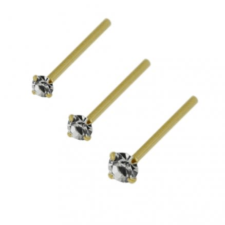 9K Gold Straight end Jeweled Nose Stud