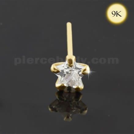 9K Gold Star CZ Jeweled Nose Stud