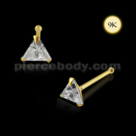 9K Gold Triangle CZ Ball End Nose Pin