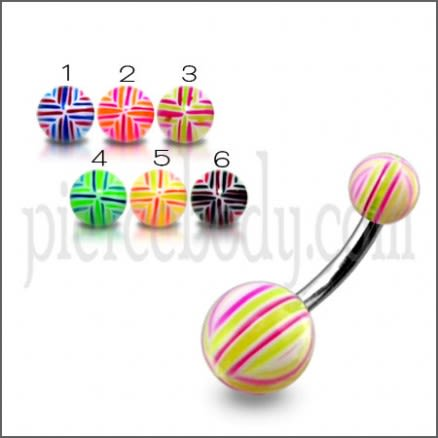 SS Banana Bar Belly Ring With UV Lines Ball