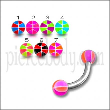 SS Eyebrow Banana Ring with Multi Color UV Balls Body Jewelry