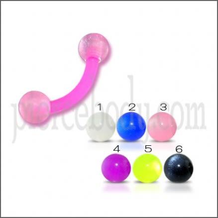 Pink Glittered UV Eyebrow Banana Bar Ring with Pink Shaded UV Balls