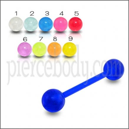 Tongue Barbells With UV Llight Reactive Acrylic Balls Body Jewelry