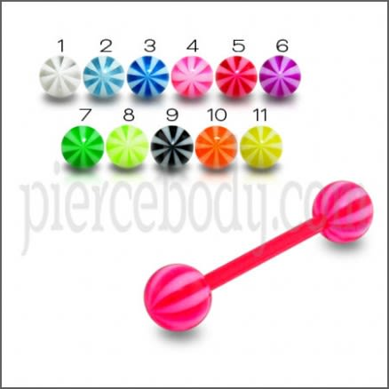 Multi Colored UV Acrylic Star Ball Tongue Ring