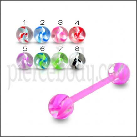 Flexible Teflon Barbells with UV Star Balls