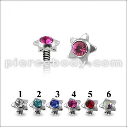 Star Jeweled Dermal Anchor Tops | Dermal Anchors