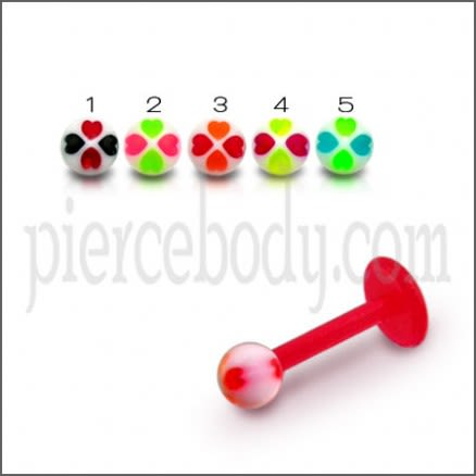 UV Labret With Assorted Color Flexible Straight Barbell with UV Fancy Ball