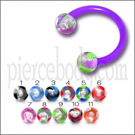 Purple UV Circular Barbell with Mix UV Balls