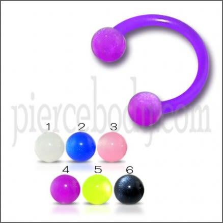 Purple Acrylic UV Circular Barbell with UV Balls