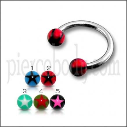 SS Circular Barbells with 5mm Red UV Black Star Print Balls