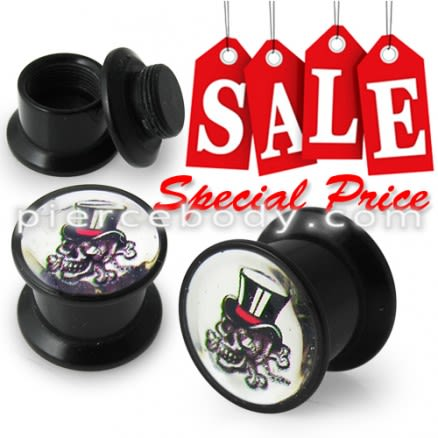 Screw Fit Ear Flesh Tunnel with Magician Skull Logo