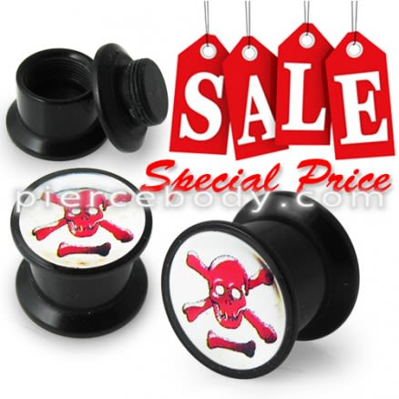 Screw Fit Ear Flesh Tunnel with Red Skull Logo