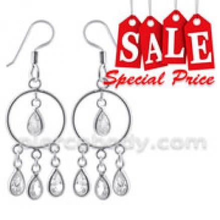 Silver Fancy Dangling Costume Earring
