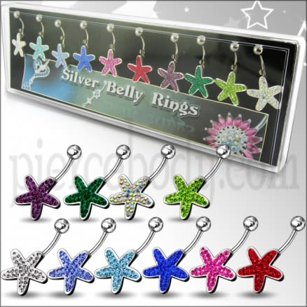 Mix Colors Star Fish Silver Belly Ring