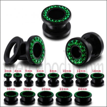 UV Ear Flesh Tunnel in Glue Setting With Emerald Green