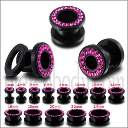UV Ear Flesh Tunnel in Glue Setting with Pink Stones
