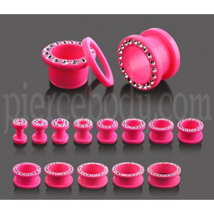 UV Multi Jeweled Pink Ear Flesh Tunnel