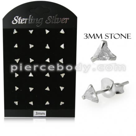 3MM CZ Triangle Ear Stud in 12 pair Tray