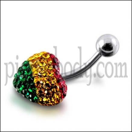Multi Color Crystal stone Heart banana Bar Navel Body Jewelry Ring