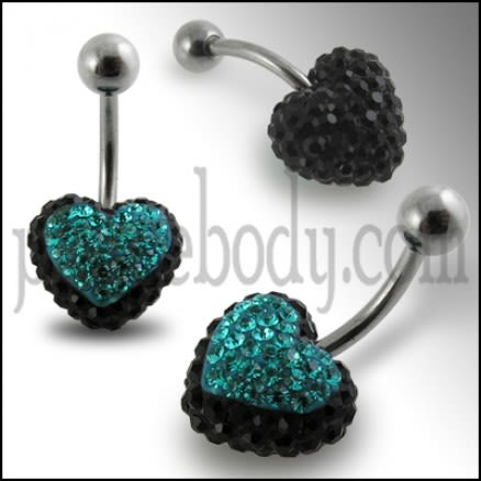 Green And Black Crystal stone Heart WIth SS Banana Bar Navel Ring