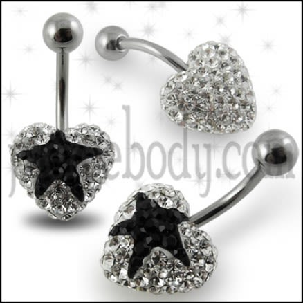 Crystal stone Black Star In Surgical Steel navel Ring FDBLY351