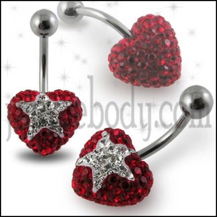 Crystal stone Heart Navel Banana Barbell Ring FDBLY356